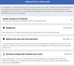 Facebook: Aplicaciones y sitios web