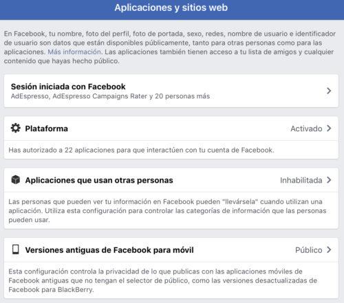 Facebook: Compartir datos con las aplicaciones de nuestros amigos, desactivado