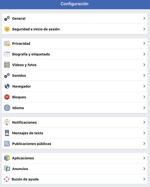 Facebook: Configuración privacidad