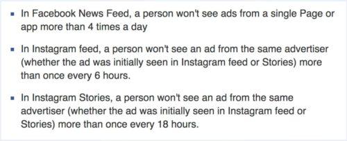 Limitaciones de frecuencia de los anuncios de Facebook e Instagram: Principio 2018