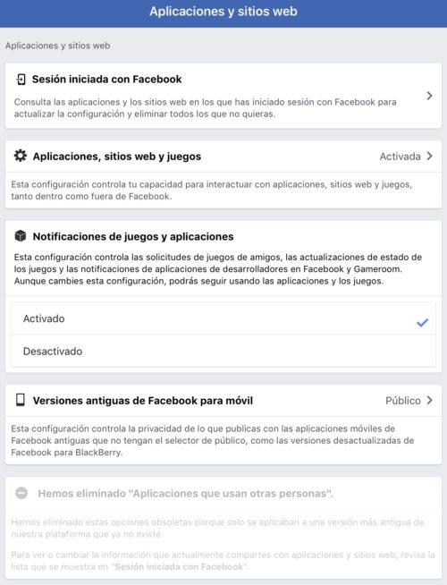 Facebook ya no comparte datos con las APPS de nuestros amigos