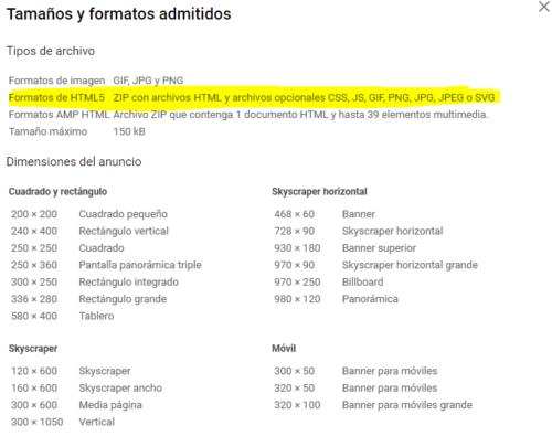 Formatos AdWords con anuncios HTML5