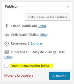 Forzar actualización fecha publicación WordPress
