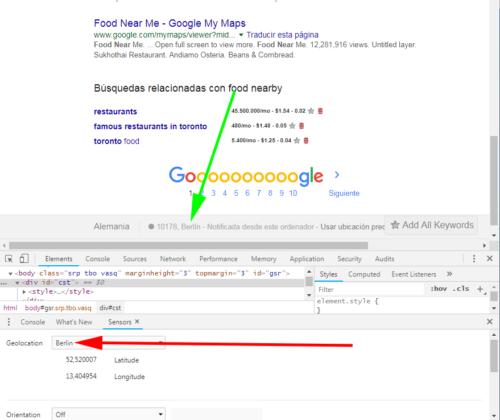 Geolocalización Google Chrome en Berlín en búsqueda