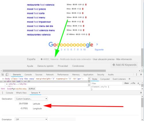 Geolocalización Google Chrome en Valencia en búsqueda