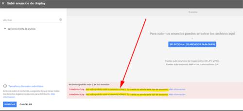 Google Ads: No se ha podido subir tu anuncio HTML5. Tu cuenta no admite este tipo de anuncios.