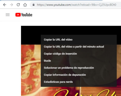 Google Chrome:: Menú contextual primero YouTube (un click con el botón derecho del ratón)