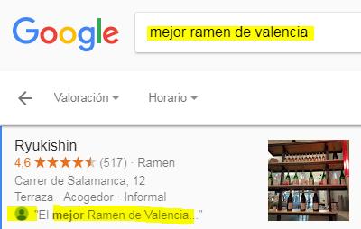 Google Local Business: Palabras clave en reseña para posicionar el establecimiento