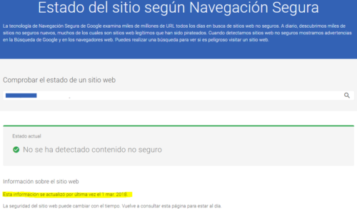 Google Safe Browsing Test: Actualizado hace 3 meses