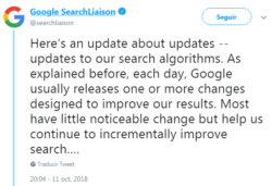 Here's an update about updates -- updates to our search algorithms. As explained before, each day, Google usually releases one or more changes designed to improve our results. Most have little noticeable change but help us continue to incrementally improve search….