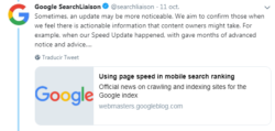 Sometimes, an update may be more noticeable. We aim to confirm those when we feel there is actionable information that content owners might take. For example, when our Speed Update happened, with gave months of advanced notice and advice….