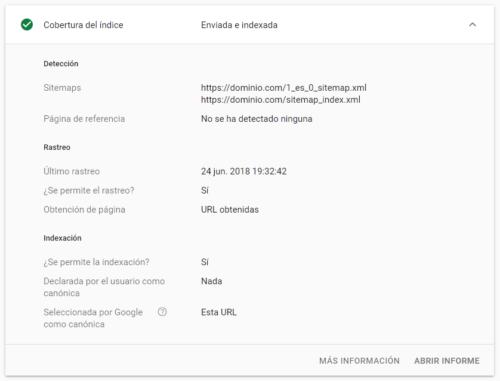 Google Search Console - Inspeccionar URLs - URL correcta (detalles)