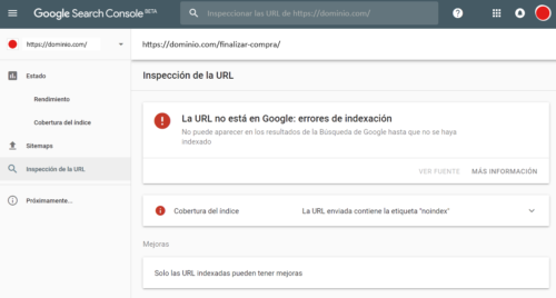 Google Search Console - Inspeccionar URLs - Indexado incorrecto - Error