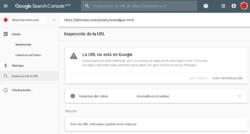 Google Search Console - Inspeccionar URLs - La URL no está en Google - Error