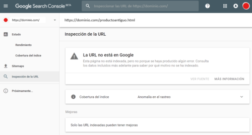 Google Search Console - Inspeccionar URLs - La URL no está en Google - Error