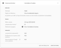 Google Search Console - Inspeccionar URLs - La URL no está en Google - Error (detalle)