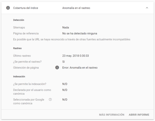 Google Search Console - Inspeccionar URLs - La URL no está en Google - Error (detalle)