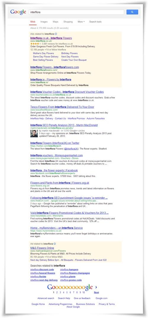 Resultado de Interflora.co.uk en google.co.uk