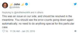 This was an issue on our side, and should be resolved in the meantime. You should see the error-counts going down again automatically, no need to do anything special for this particular case.