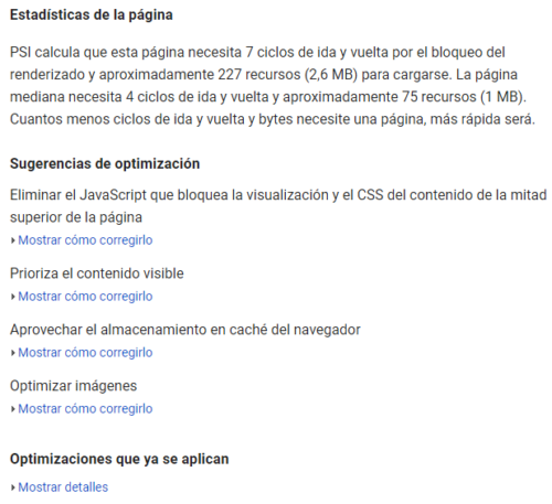 Google PageSpeed Tools para elmundo.es: Estadísticas y Optimizaciones