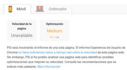 El informe Experiencia de Usuario de Chrome no tiene suficientes datos a tiempo real sobre la velocidad de esta página web