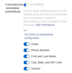 Píxel de Facebook - Coincidencias avanzadas automáticas - OPCIONES