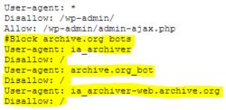Robots.txt estándar de WordPress incluyendo bloqueo bots de archive.org