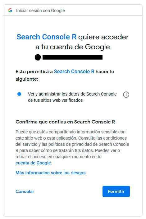 Search Console R quiere acceder a tu cuenta de Google Search Console