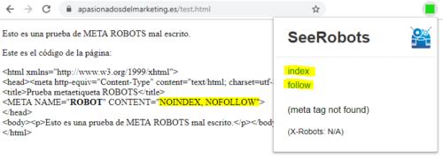 SeeRobots: Noindex en etiqueta ROBOT
