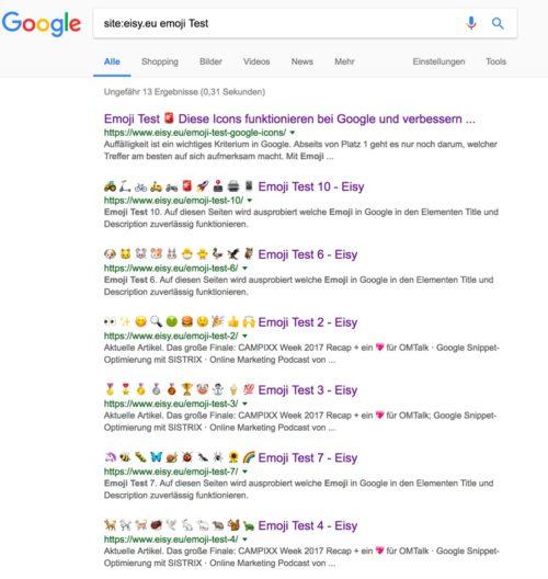 Test de emojis en el meta title en los resultados de búsqueda de Google en 2017