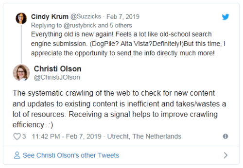 """Rastrear la web es ineficiente y necesita muchos recursos. Una señal a través de """"Enviar direcciones URL"""" permite optimizar el rastreo."""