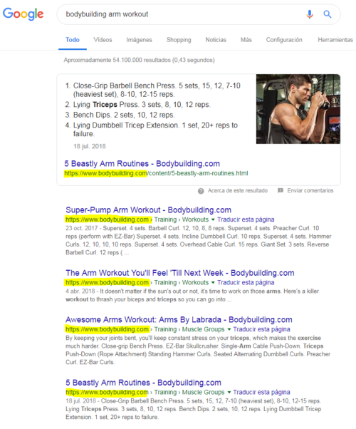 "Búsqueda en Google por ""bodybuilding arm workout"""